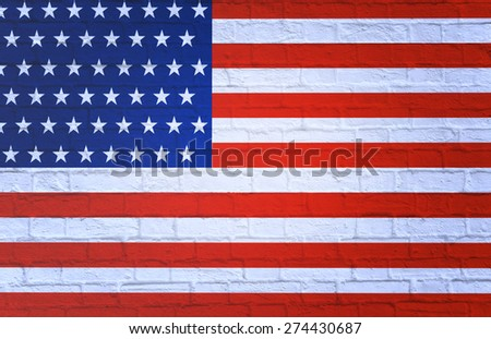 Flag of USA. Textured brick wall.3D - stock photo
