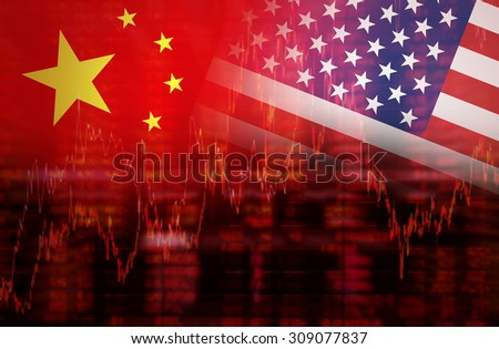 Flag of USA with Flag of China Downtrend stock diagram - stock photo