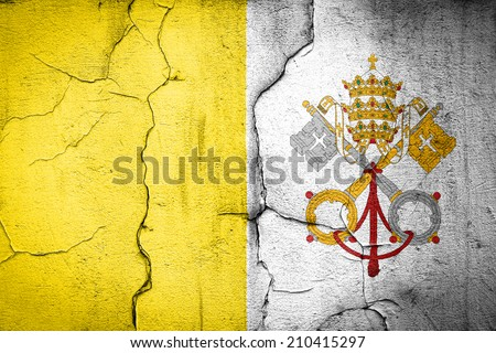 flag of Vatican painted on cracked wall - stock photo