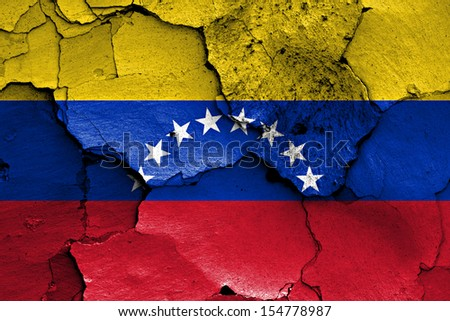 flag of Venezuela painted on cracked wall  - stock photo