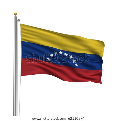 Flag of Venezuela with flag pole waving in the wind over white background - stock photo