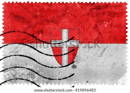 Flag of Vienna State, old postage stamp - stock photo