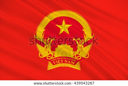 Flag of Vietnam officially the Socialist Republic of Vietnam is the easternmost country on the Indochina Peninsula in Southeast Asia. 3D illustration - stock photo