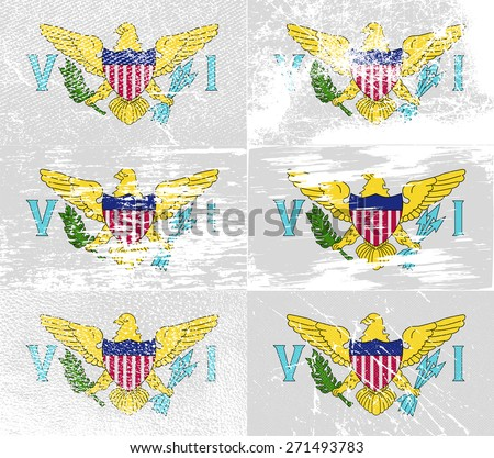 Flag of Virgin Islands US with old texture.  illustration - stock photo