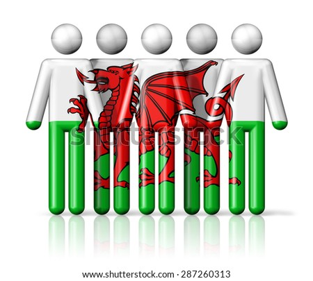Flag of Wales on stick figure - national and social community symbol 3D icon - stock photo