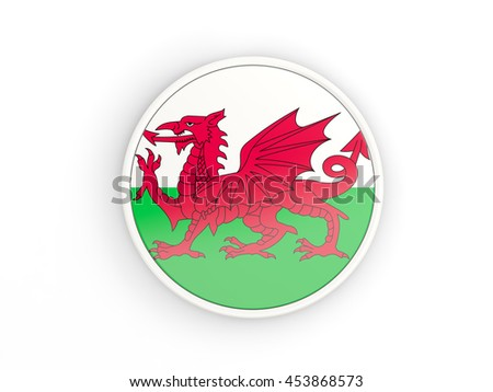 Flag of wales. Round icon with white frame.3D illustration - stock photo