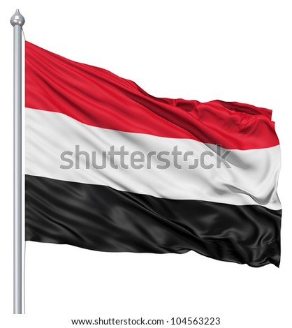Flag of Yemen with flagpole waving in the wind against white background - stock photo