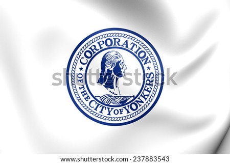 Flag of Yonkers, USA. Close Up.    - stock photo