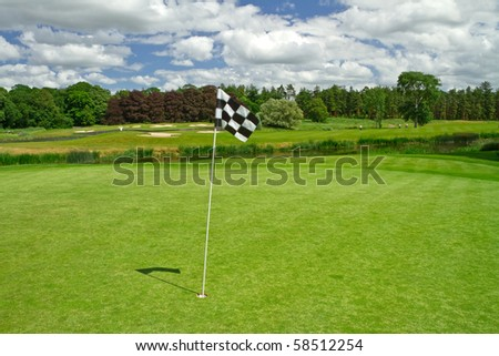 Flag on the golf course - stock photo