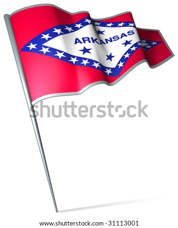 Flag pin - Arkansas (USA) - stock photo