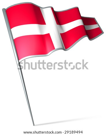 Flag pin - Denmark - stock photo