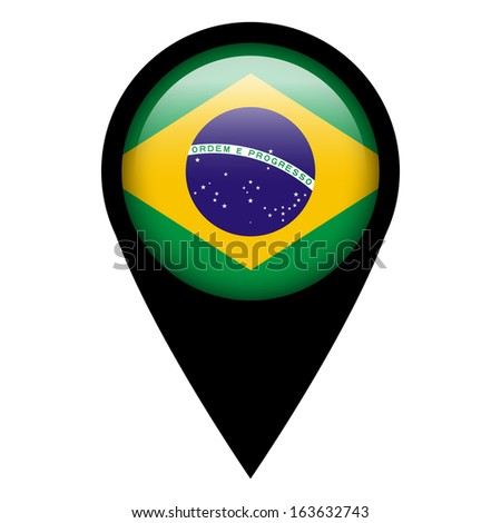 Flag pin illustration - Brazil - stock photo