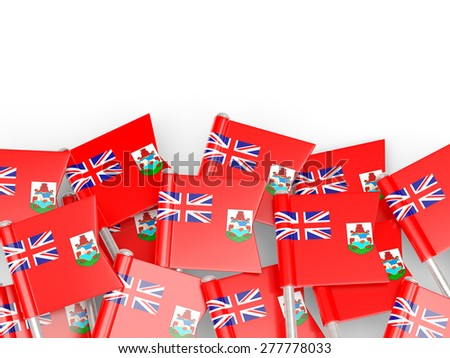 Flag pin of bermuda isolated on white - stock photo