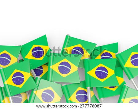 Flag pin of brazil isolated on white - stock photo