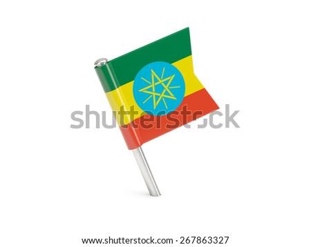 Flag pin of ethiopia isolated on white - stock photo