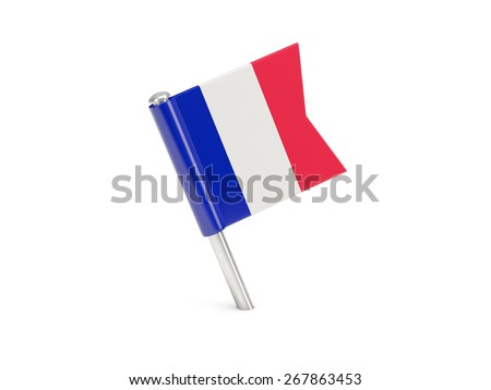 Flag pin of france isolated on white - stock photo