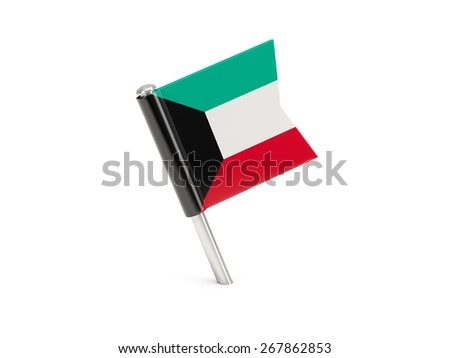 Flag pin of kuwait isolated on white - stock photo
