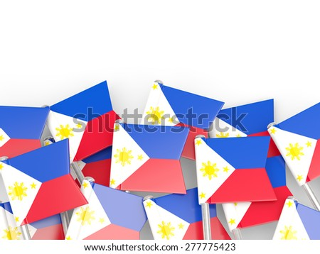 Flag pin of philippines isolated on white - stock photo
