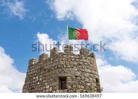 Flag Portugal in Castelo dos Mouros,Sintra   - stock photo