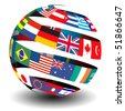 Flag spiral globe - stock photo