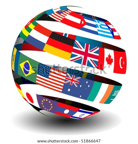 Flag spiral globe - stock photo