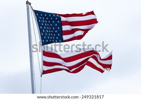 Flag, USA divided 3 - stock photo