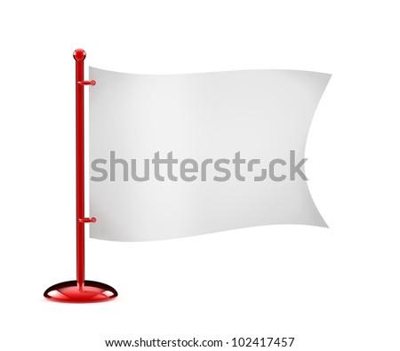 Flag white isolated on a white. - stock photo