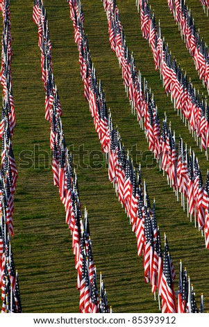 Flags as part of the memorial healing fields for 9/11/2011 in Grand Rapids Michigan. Each flag was designed to represent a person who died in the terrorist attacks on 9/11/2001. - stock photo