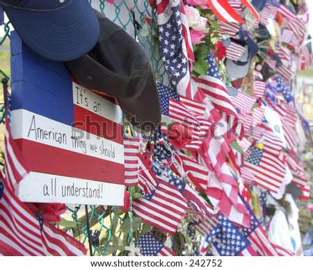 Flags at Shanksville crash site. - stock photo