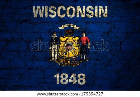 Flags from the states of the  USA ; the flag of wisconsin  - stock photo