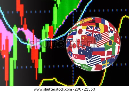 Flags globe over the display of daily stock market charts of financial instruments for technical analysis including price and bollinger band analysis. Global stock market investment concept. - stock photo