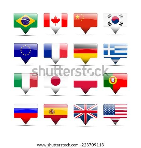 Flags icons that speak - stock photo