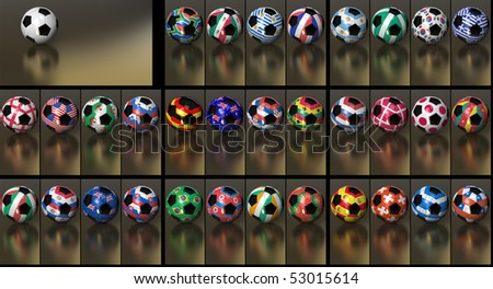 Flags of all 32 participating nations on the hexagons of a soccer ball. Just replace the neutral ball on the background with the desired country. Position as work path included. A great value pack. - stock photo