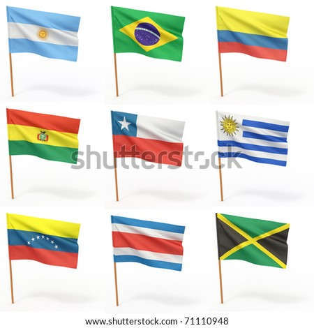 Flags of american country. Collection 3. - stock photo