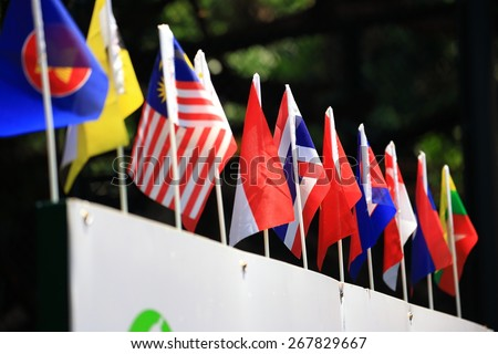 Flags of ASEAN Economic Community - stock photo