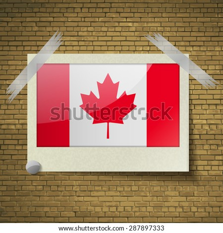 Flags of Canada at frame on a brick background.  illustration. Rastrized version - stock photo