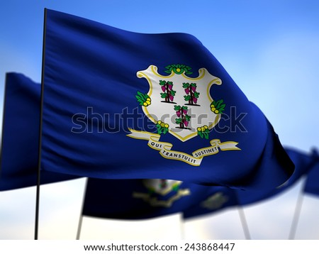 flags of Connecticut on blue sky background - stock photo