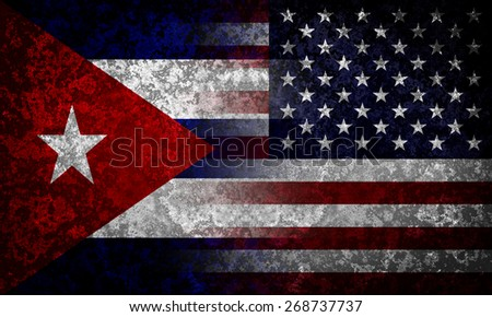 Flags of Cuba and USA. Diplomatical concept. - stock photo