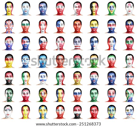 Flags of different countries on a woman's face. A set. - stock photo