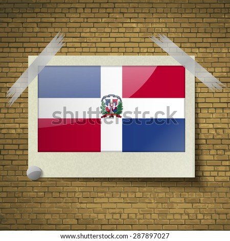 Flags of Dominican Republic at frame on a brick background.  illustration. Rastrized version - stock photo