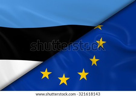 Flags of Estonia and the European Union Divided Diagonally - 3D Render of the Estonian Flag and EU Flag with Silky Texture - stock photo