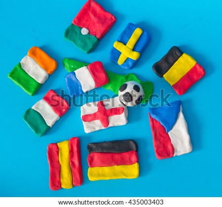 Flags of Euro 2016 Nation Team - stock photo