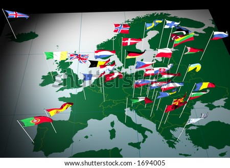 Flags of European countries flying from their capital cities. Viewed from the South. - stock photo