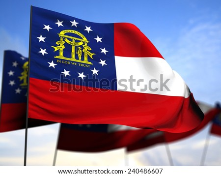 flags of Georgia on blue sky background - stock photo