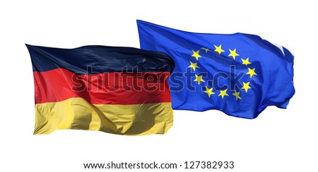 Flags of Germany and EU, isolated on white background - stock photo