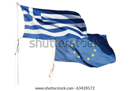 Flags of Greece and European Community - stock photo
