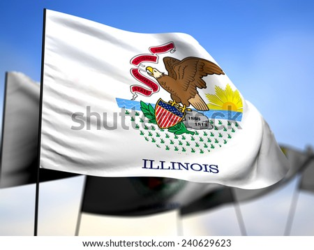flags of Illinois on blue sky background - stock photo
