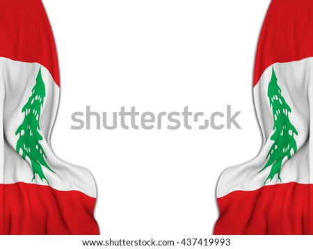 Flags of Lebanon moved to make room to a vintage background-3D rendering - stock photo