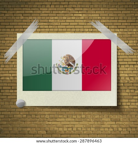 Flags of Mexico at frame on a brick background.  illustration. Rastrized version - stock photo