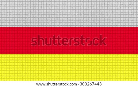 Flags of North Ossetia with abstract textures. Rasterized version - stock photo